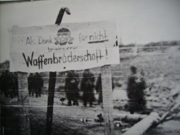 "Germans put up a sign in Muonio that reads as ""a thanks for not demonstrating a brotherhood of arms"" referring to the Finns signing a seperate peace with the Soviet Union. WW2"