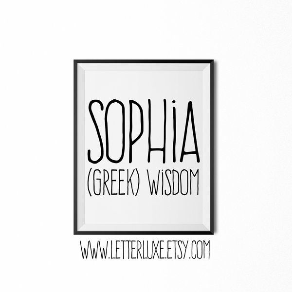 Sophia Name Meaning Print - Printable Nursery - Baby Name Decor | LetterLuxe Wooden Letters & Nursery Decor