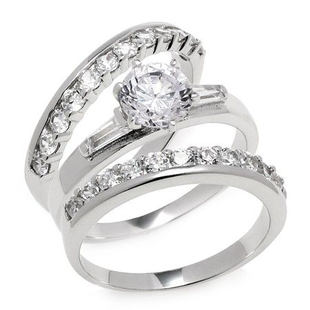Three Piece Clear CZ Wedding Set - Get it for $20.00! Sale ends 2/18! #weddingrings #weddingsets #inspiredsilver