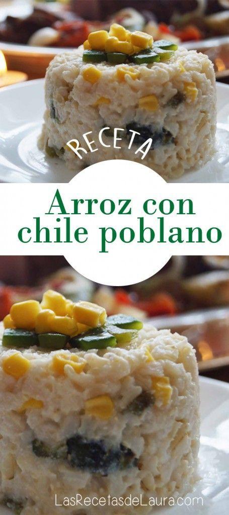 ARROZ CON CHILE POBLANO Y CREMA Receta Saludable Facil y rapida para toda la familia
