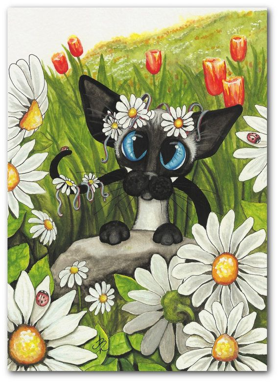 Siamese Cat Spring Tulips Daisy Flower Garden Pet by AmyLynBihrle, $24.99