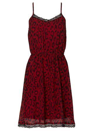 Kleid mit Spitze, RAINBOW, leopard dunkelrot bedruckt