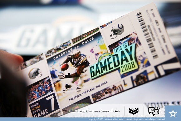 San Diego Chargers Tickets for Mary & Joe's save the date & season pass as wedding invite