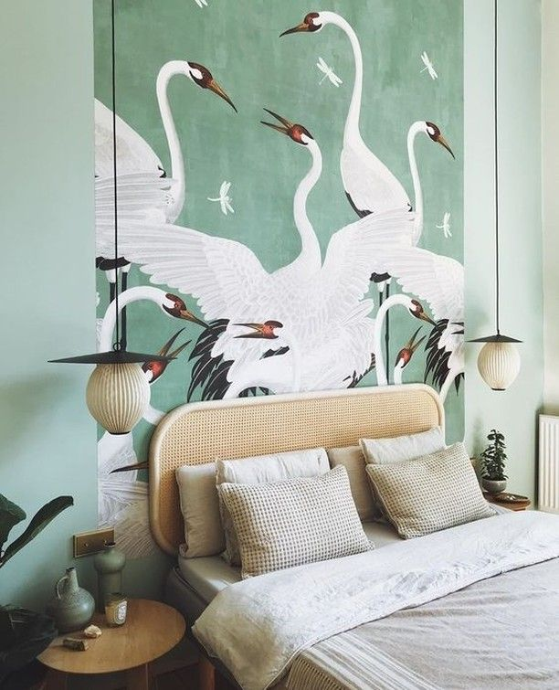Good Morning And Happy Sunday Sharing Some Beautiful Sage Green Interiors With The Iconic Gucci Wallpaper I Ve Seen T Fresh Bedroom Bedroom Decor Home Decor