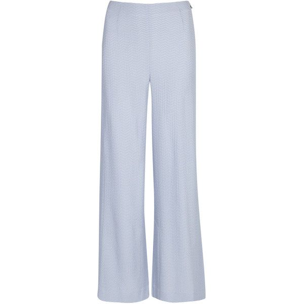Roland Mouret Glover blue wide-leg trousers (42.260 RUB) ❤ liked on Polyvore featuring pants, chevron pants, blue pants, high-waist trousers, high rise trousers and blue trousers