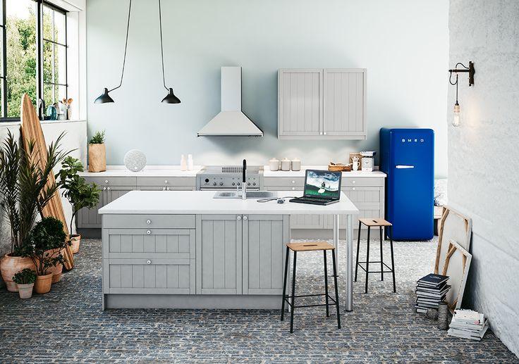 Allmo Grå - lantligt rustik serie i varma färger.Boka tid för att rita ditt kök idag.