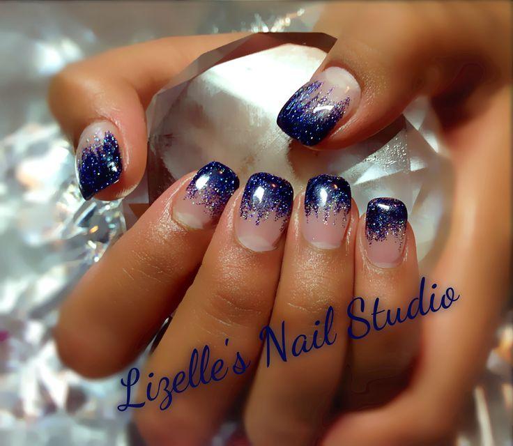 Midnight Blue Glitter tips. Hand-painted nail art. Sculpted gel nails. www.facebook.com/LizellesGelNails