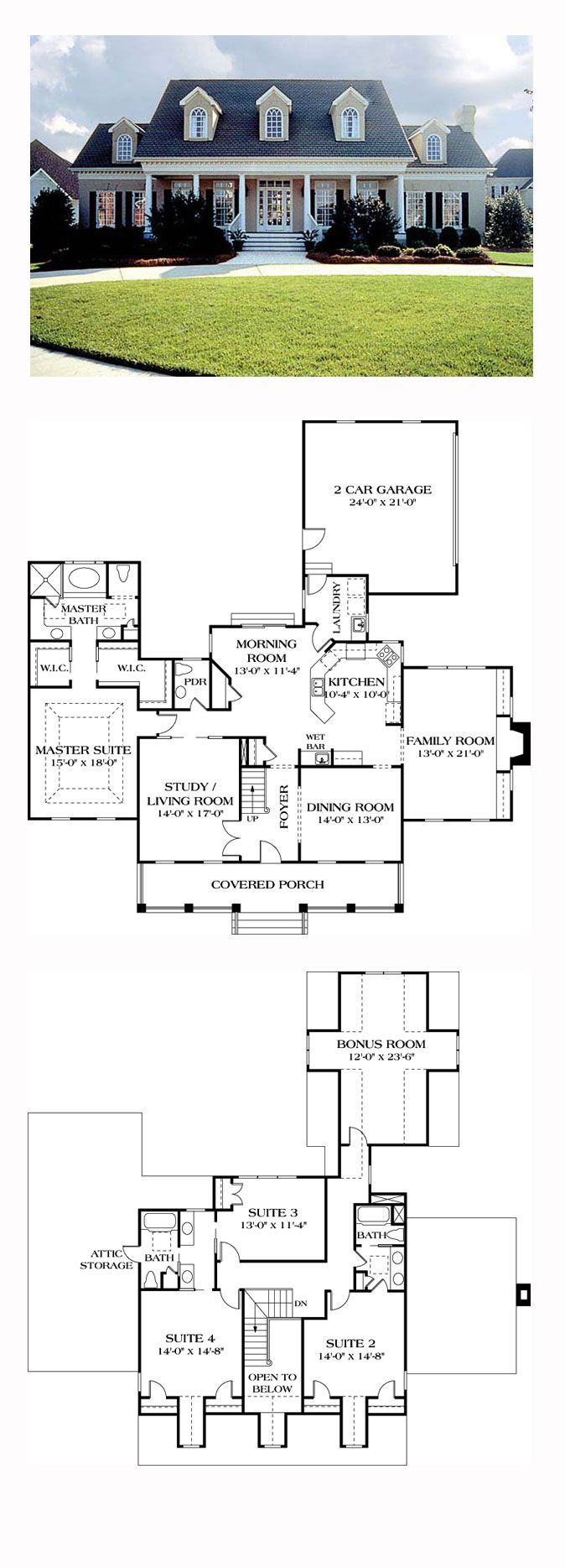 Country House Plan 85454 | Total Living Area: 3338 sq. ft., 4 bedrooms and 3.5 bathrooms. The floor plan is completely up-to-date beginning with an open entry foyer flanked by the formal living room and dining room. The master suite offers dual walk-in closets as well as a trayed ceiling in the bedroom. #countryhome