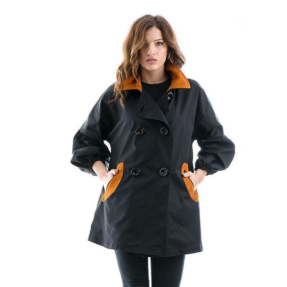 Black Trench Coat with fluffy sleeves black coat by madecoutureeu