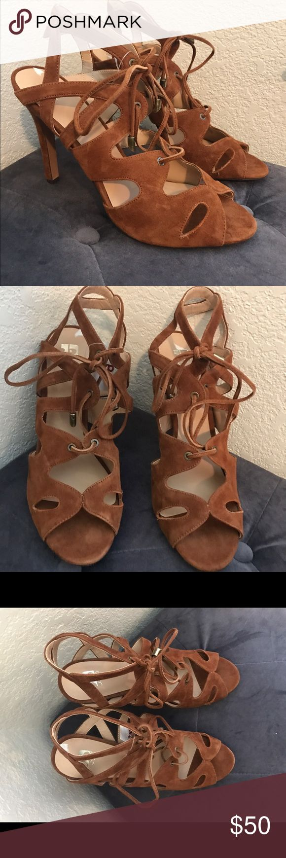 """Joes Jeans Lace Up Sandal Heels Joes Jeans Lace Up Sandal Heels in Brown Suede.    - Open toe - Caged vamp construction - Suede upper - Ghillie lace-up vamp closure - Approx. 4"""" heel  True to size.  Never worn, new with tags. Joe's Jeans Shoes Sandals"""