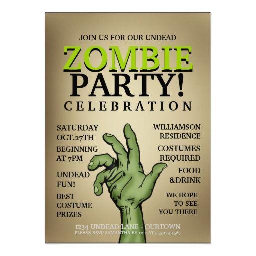 halloween zombie party invitations 230