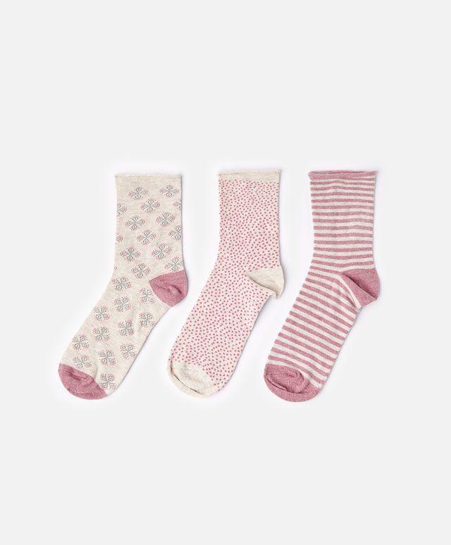 Pack de 3 calcetines sellos rosas oysho socks - Oysho deutschland ...