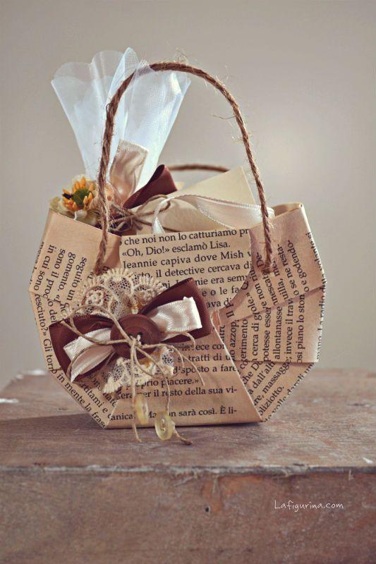 Tutorial: Come realizzare una borsetta di carta porta confetti   La Figurina