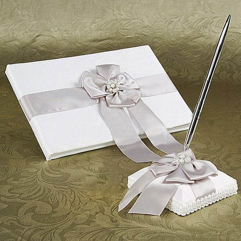 Guest Book and Pen Set with Silver Bows and Pearls