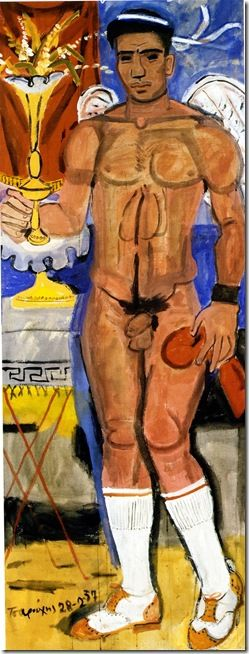 Cupid with tall white socks and two-tone shoes (1957) by Yannis Tsarouchis