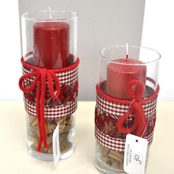 Composizioni natalizie portacandele vetro con candela - Portacandele in vetro ...
