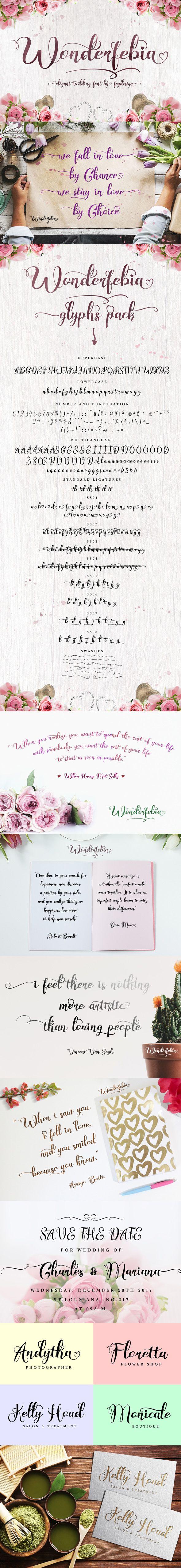 cursive fonts for wedding cards%0A Wonderfebia  Script Wedding Font