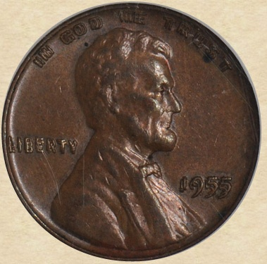 1955 Lincoln Cent Double Die Obverse