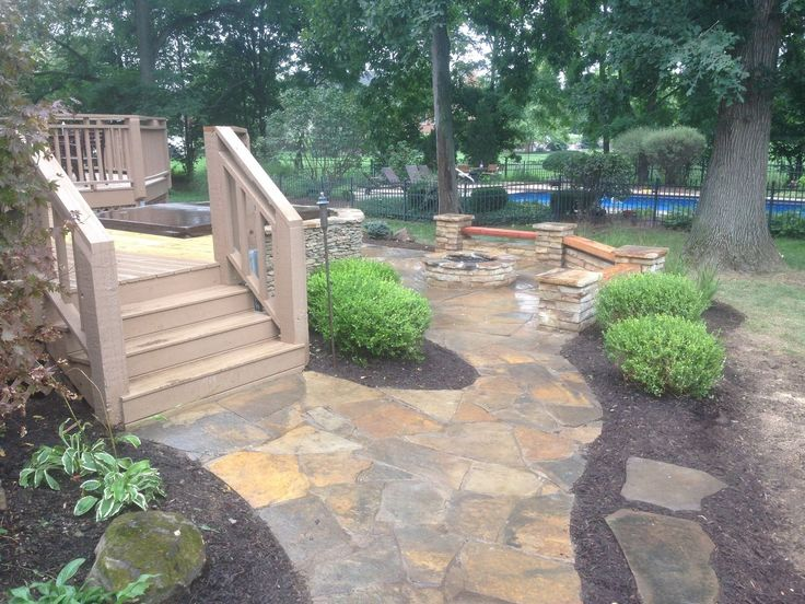 Flagstone Patio with Built-in Hot Tub
