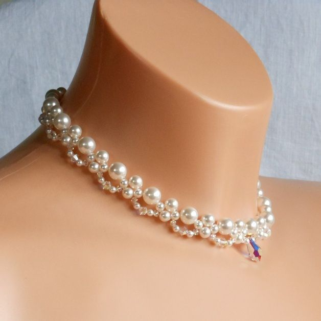 Joyas y bisutería de novia , collar nupcial de cristal swarovski, novia collar , hecho