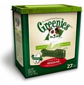 Greenies Lite Regular Dog Dental Chew - Dog.com. He loves these and they're good for him.