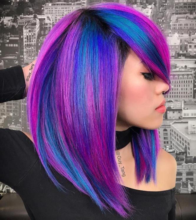 Pink And Blue Neon Hair Neon Hair Bright Hair Hair Styles