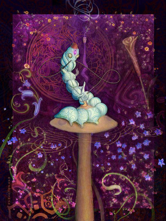 Trippy Caterpillar Artwork on Fleece Blanket  Tapestry