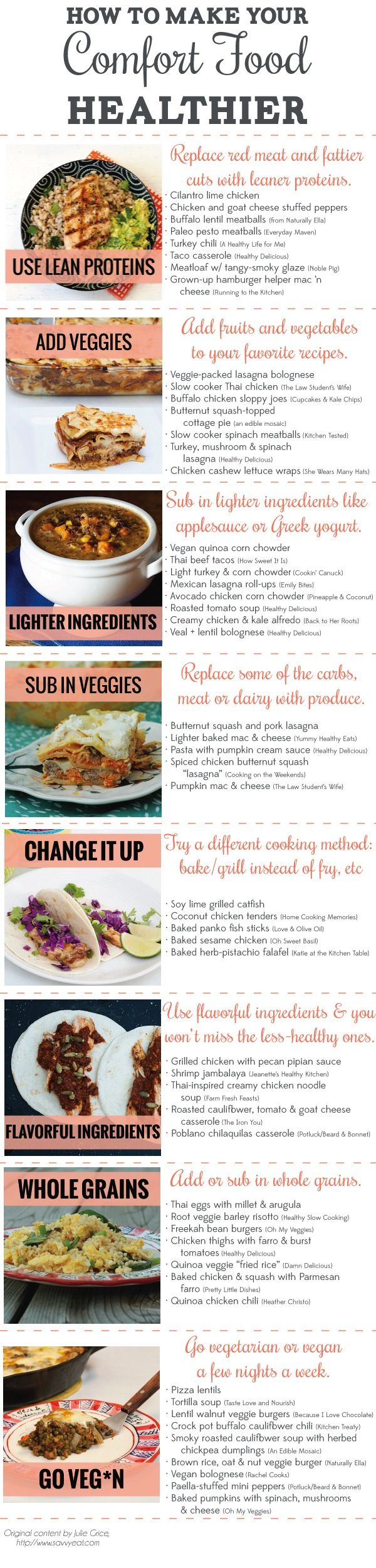 55 Ways to Make Comfort Food Healthier (+ Infographic) - Savvy Eats