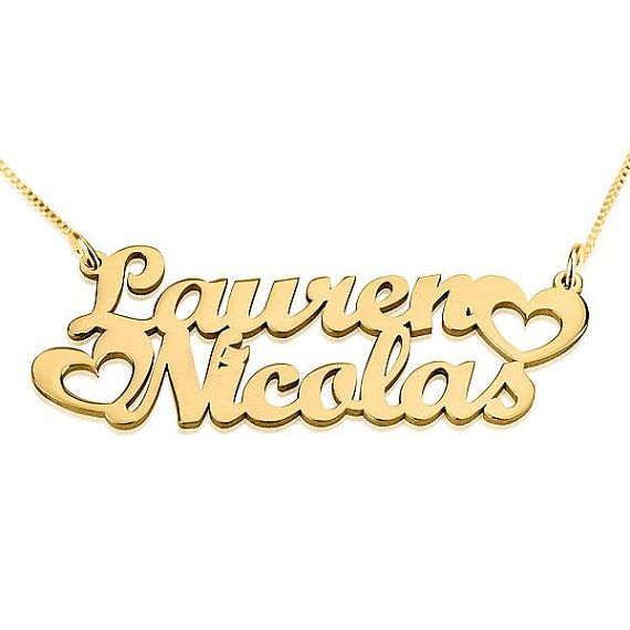 24K Gold Plated Two Names Necklace with Hearts by Onecklace, $53.95