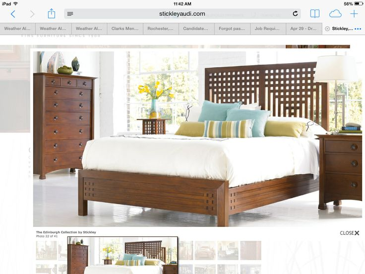 Simple Lines Of Stickley Bedroom Furniture. Bright Colors Contrast With  Stark White Walls And Dark Wood.