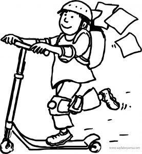 Scooter Ile Okuldan Eve Giden çocuk Boyama Sayfası Scooter Ile