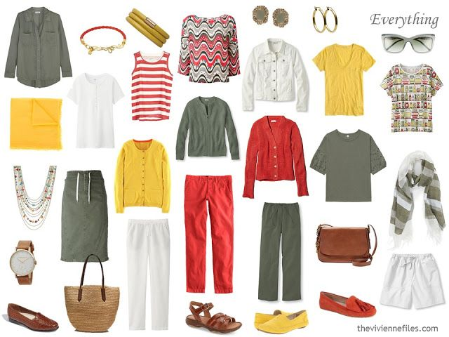The way to Add Equipment to a Capsule Wardrobe: Olive, White, Tomato and Mustard
