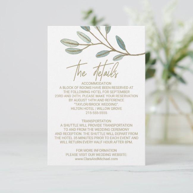 Create Your Own Enclosure Card Zazzle Com Wedding Details Card Wedding Cards Eucalyptus Wedding