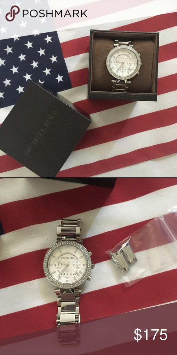 Michael Kors watch💕🇺🇸 Michael Kors watch, silver color with crystals, only worn once or twice. Still has plastic cover on the face. Includes box but will need new battery. Includes removed links💕🇺🇸 Michael Kors Accessories Watches