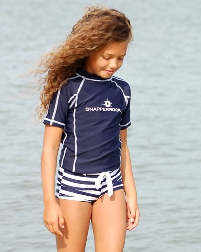 Short tankini met effen blauw shirt Snapper Rock
