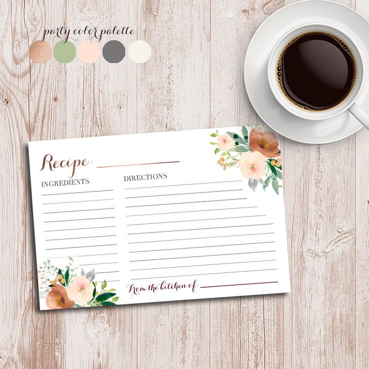 Floral recipe card, Floral bridal shower, floral wedding shower, Copper shower, rose gold, Recipe shower, matching invitation by AweDesignsShop on Etsy https://www.etsy.com/ca/listing/592646495/floral-recipe-card-floral-bridal-shower