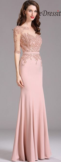 eDressit Carlyna Blush Illusion Beaded Applique Formal Dress with Sweetheart