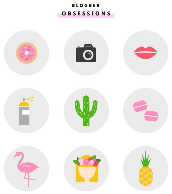 Free icon set of blogger obsessions from Little White Whale. Yes, I'm obsessed with most of these!