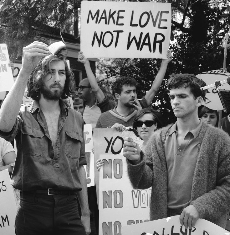 Anti-Vietnam war protesters march down Fifth Avenue near to 81st Street in New…
