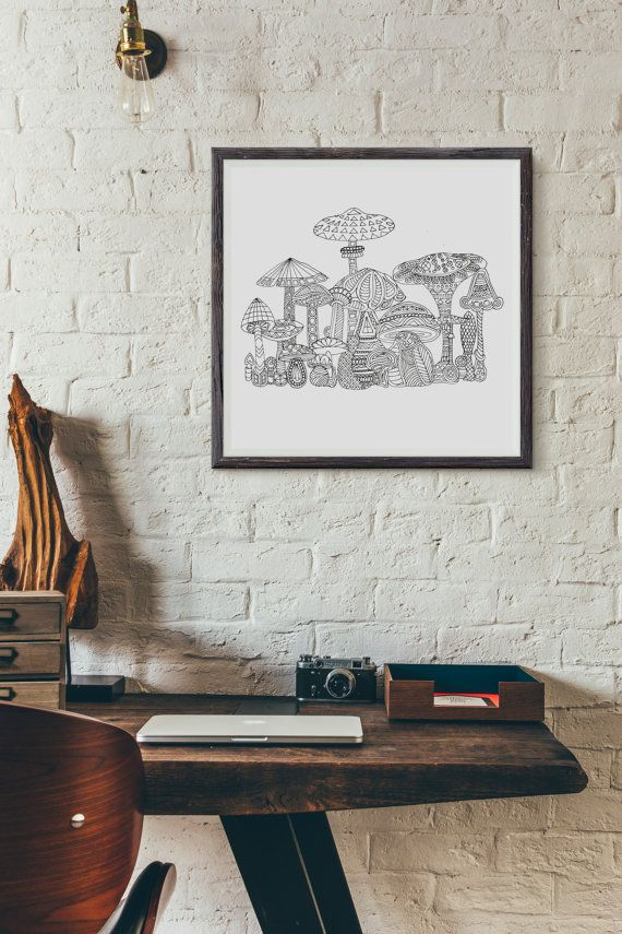 Magic Mushrooms adult coloring page by ZuskaArt on Etsy