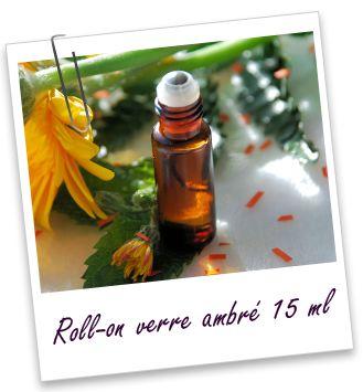 Flacon roll-on 15 ml en verre ambré et bille acier Aroma-Zone