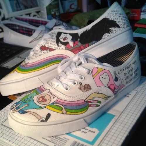 Adventure time Shoes by Fauve Boudreau Creations. You can see more on http://www.facebook.com/FauveBCreations #diy #shoart #art #artist #handmade #drawing #adventuretime #finnthehuman #finn #princessbubblegum #princess #bubblegum #quote #marceline #song #base #guitar #music #shoes