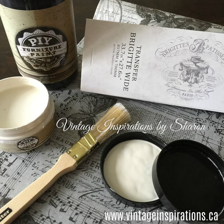 """PIY Furniture Paint Midnight Coal and Vintage Lace, what a beautiful pairing. Order from anywhere in Canada or the US and get delivery to your door - save 10% off your order using the Vintage Inspirations by Sharon affiliate link along with coupon code """"BAREWARDS"""" at checkout! http://piypaint.com/ref/33/?campaign=Pinterest"""
