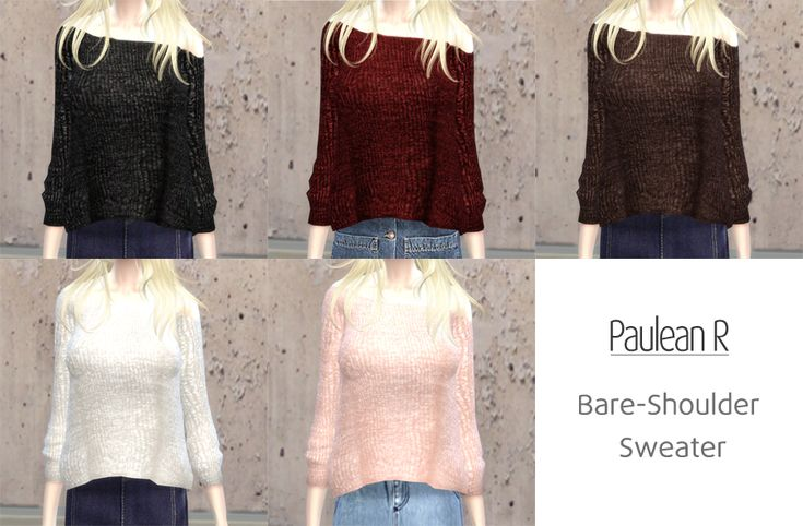 """pauleanr: """" Sims 4 - Bare-Shoulder Sweater – 露肩寬版針織毛衣 Category: Clothing – Top Female Only (僅限女性) Teen / Young Adult / Adult / Elder (青少年-老年) 5 swatch (5 種款式) Thanks for @kiruluvnst's pose and..."""