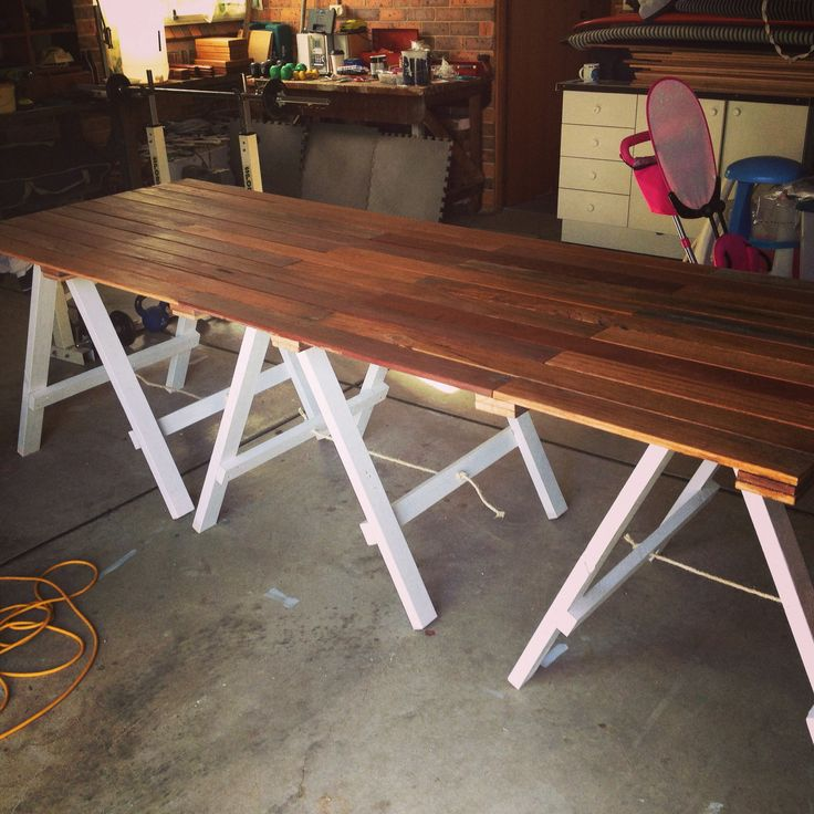 2.8m x 1m trestle using reclaimed fence timber.