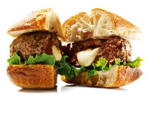 Lamb burger with smoked mozzarella - Yahoo! Make your own tasty burger (less calories).