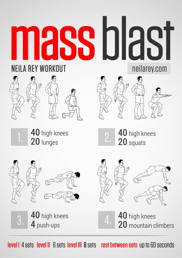 Mass Blast Workout / Works: Quads, calves, ankle joint, lower abs, triceps, biceps, chest, aerobic capacity, cardiovascular system