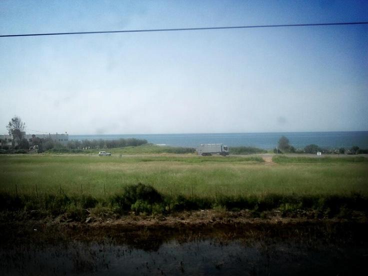 Mi mancava il mare. E rivederlo dal treno è straordinario, anche se la foto è fatta male e non rende