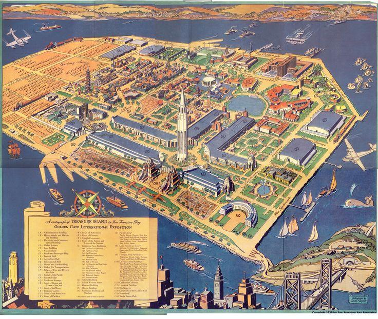 A Cartograph of Treasure Island in San Francisco Bay: San Francisco California, Golden Gates, Gates International, 1939 Maps, San Francisco Bays, Gates Exposit, Treasure Islands, Jigsaw Puzzles, Heart San Francisco