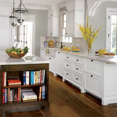 Pale grey with a vibrant yellow... totally gorgeousKitchens Design, White And Yellow Kitchens, Floors, Cookbooks Shelf, Dark Wood, Old Houses, White Kitchens Wood Islands, Ideas Kitchendesign, White Cabinets Wood Islands